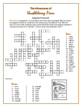 The Adventures of Huckleberry Finn: Anagram Crossword—Unique Spelling Workout!