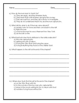 The Adventures of Huckleberry Finn Chapter 16 Quick Quiz