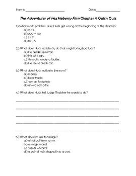 The Adventures of Huckleberry Finn Chapter 4 Quick Quiz