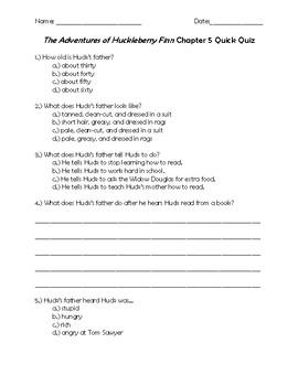 The Adventures of Huckleberry Finn Chapter 5 Quick Quiz