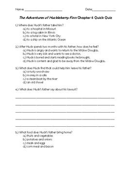 The Adventures of Huckleberry Finn Chapter 6 Quick Quiz
