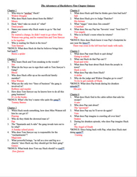 the adventures of huckleberry finn chapter quizzes tpt