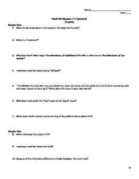 The Adventures of Huckleberry Finn Chapters 1-3 Review Questions