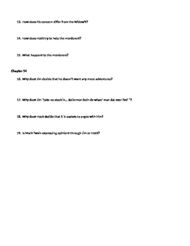 The Adventures of Huckleberry Finn Chapters 11-14 Review Questions
