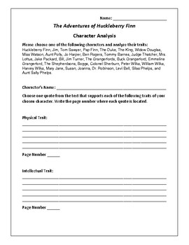 The Adventures of Huckleberry Finn Character Analysis - Twain