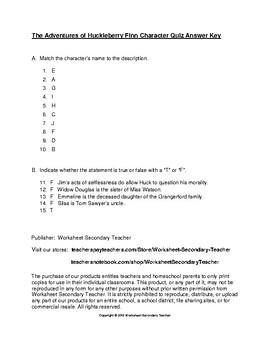 The Adventures of Huckleberry Finn Character Quiz with Answer Key