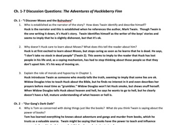 The Adventures of Huckleberry Finn Discussion Questions