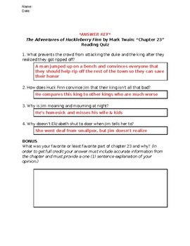 The Adventures of Huckleberry Finn (Mark Twain): Chapter 23 - Reading Quiz