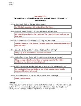 The Adventures of Huckleberry Finn (Mark Twain): Chapter 29 - Reading Quiz