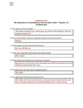The Adventures of Huckleberry Finn (Mark Twain): Chapter 31 - Reading Quiz