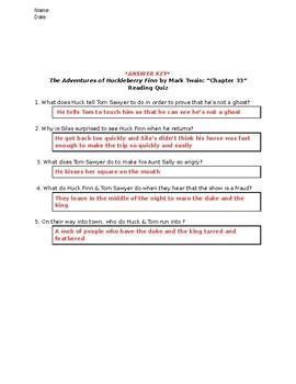 The Adventures of Huckleberry Finn (Mark Twain): Chapter 33 - Reading Quiz