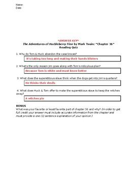 The Adventures of Huckleberry Finn (Mark Twain): Chapter 36 - Reading Quiz