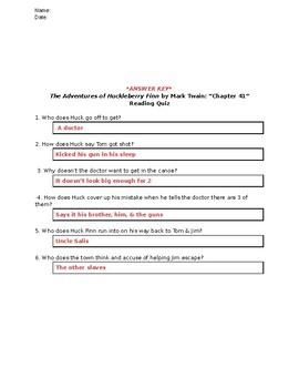 The Adventures of Huckleberry Finn (Mark Twain): Chapter 41 - Reading Quiz