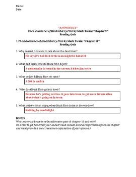 The Adventures of Huckleberry Finn (Mark Twain) Reading Quiz Bundle - Chs 1-10