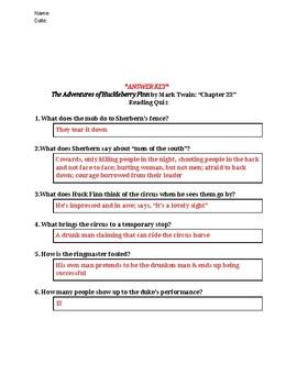 The Adventures of Huckleberry Finn (Mark Twain) Reading Quiz Bundle - Chs 21-30