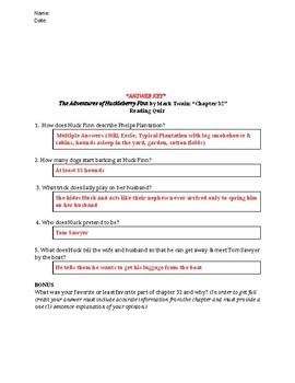 The Adventures of Huckleberry Finn (Mark Twain) Reading Quiz Bundle - Chs 30-42