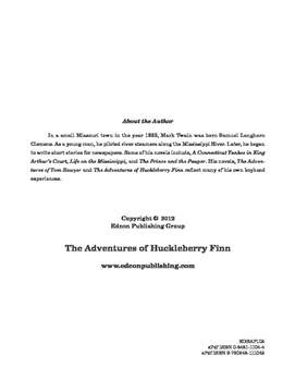 The Adventures of Huckleberry Finn 10 Chapter Reader