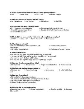 The Adventures of Huckleberry Finn Test