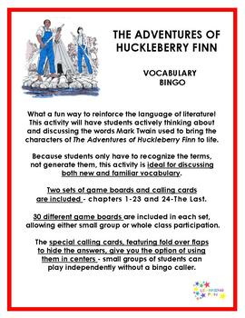 The Adventures of Huckleberry Finn Vocabulary Bingo