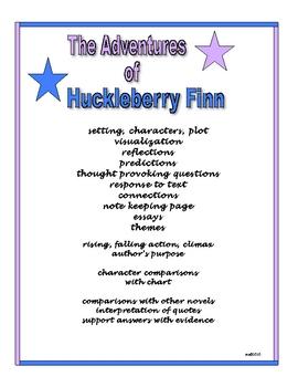 The Adventures of Huckleberry Finn Literature Guide Novel Study