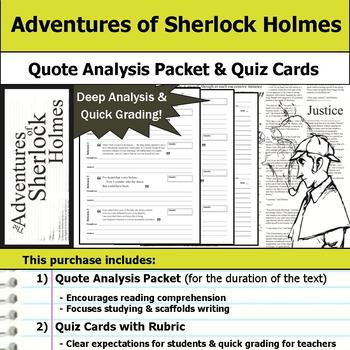 The Adventures of Sherlock Holmes - Quote Analysis & Reading Quizzes