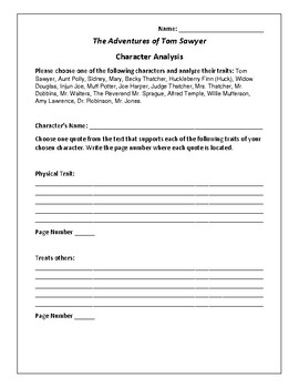 The Adventures of Tom Sawyer Character Analysis - Twain
