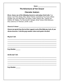The Adventures of Tom Sawyer Character Analysis - Twain