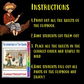 The Adventures of Tom Sawyer Characterization Flip book
