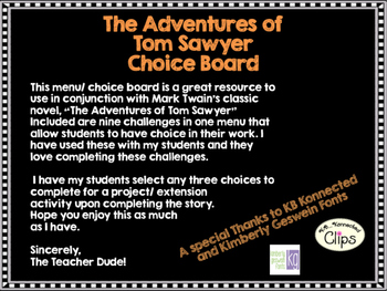 The Adventures of Tom Sawyer Choice Board