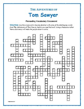 The Adventures of Tom Sawyer: Prereading Vocab Crossword: