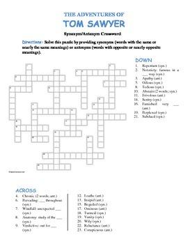The Adventures of Tom Sawyer--Synonym/Antonym Vocabulary Crossword