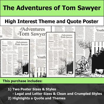 The Adventures of Tom Sawyer - Visual Theme and Quote Poster for Bulletin Boards