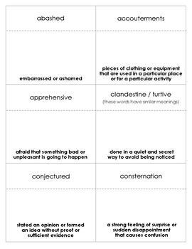 The Adventures of Tom Sawyer Vocabulary Bingo