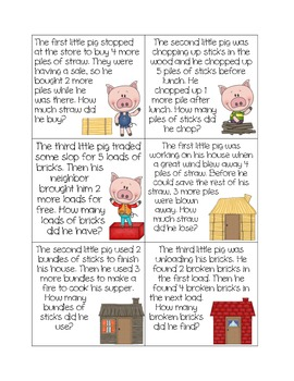 The Adventures of the Three Little Pigs: Addition Story Problem Fun!