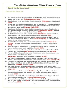 The African Americans Many Rivers to Cross Episode 1 Worksheet: 1500-1800