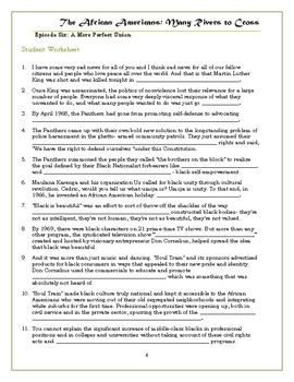 The African Americans Many Rivers to Cross Episode 6 Worksheet: 1968-2013
