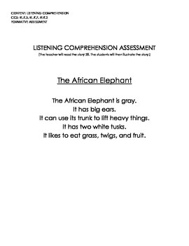 The African Elephant (Listening Comprehension Assessment w/Rubric)