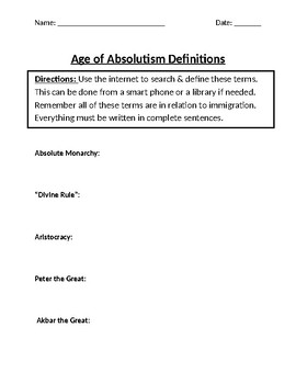 The Age of Absolutism Homework Definitions