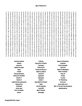 The Age of Absolutism Vocabulary Word Search for World History
