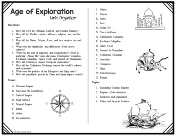 The Age of Exploration Vocabulary Unit