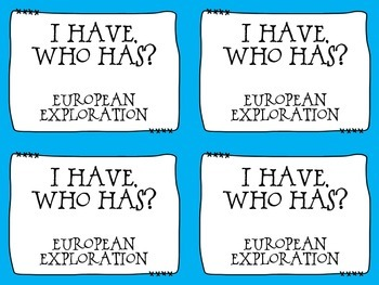 Age of Exploration I Have, Who Has? - Set of 24 Cards - Grades 5-8