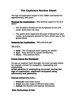 The Age of Exploration Review Sheet