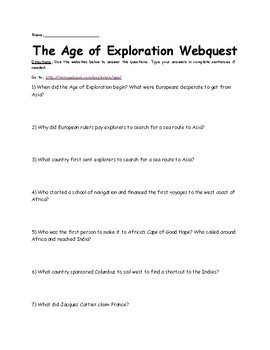 The Age of Exploration Webquest 40 questions
