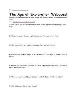 The Age of Exploration Webquest