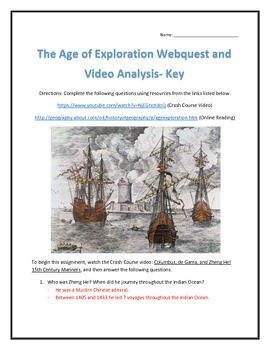 The Age of Exploration- Webquest and Video Analysis with Key