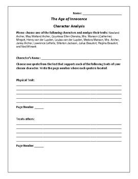 The Age of Innocence Character Analysis Activity - Edith Wharton