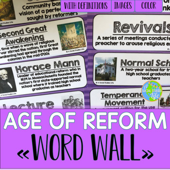 Reform, Suffrage, and Abolition Word Wall