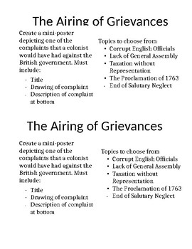 The Airing of Grievances- Colonial Grievances Mini Poster