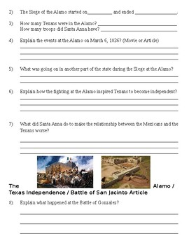 The Alamo Article with Questions