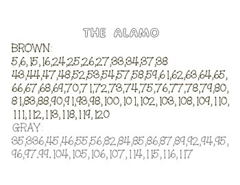 The Alamo Hidden Picture on a 120 chart